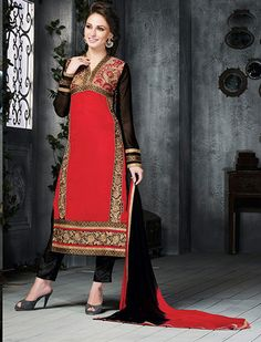 USD 47.73 Red Brasso Pakistani Style Suit 54361