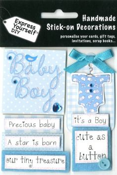 Express Yourself DIY, self adhesive, Baby Captions (Boy) Topper - Ideal for Card Making, Scrapbooking, Papercrafts, Childrens Crafts etc
