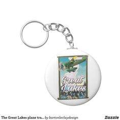 The Great Lakes plane travel poster Keychain