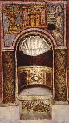 Detail View of Torah Shrine from Synagogue, Dura Europos, Syria fresco, CE Damascus, National Museum Early Christian, Christian Art, Jewish Art, Religious Art, Shabbat Candlesticks, Jewish Synagogue, Carolingian, Octopus Art, Art History