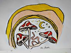 #mushrooms #night #magic #moon #snake #mystic #art #artwork #oliwiajaworska