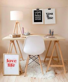 Saw Horse Desk · Modern Home Office Inspiration · Workspace Design · Creative Studio · Artist Desk Home Office Design, Home Office Decor, House Design, Office Ideas, Cozy Office, White Office, Workspace Inspiration, Interior Inspiration, Design Inspiration