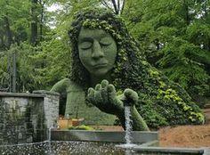 25' tall earth goddess in the Cascades Garden at the Atlanta Botanical Garden