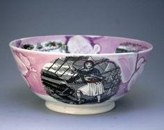 antique pink lusterware bowl.