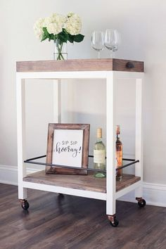 How to build a coffee bar cart DIY and how to style a coffee bar cart. Use this coffee bar cart DIY to provide pretty, functional storage in your kitchen. Diy Bar Cart, Gold Bar Cart, Bar Cart Styling, Bar Cart Decor, Bar Carts, Bar Cart Wood, Diy Bar Stools, Bar Furniture, Rustic Furniture
