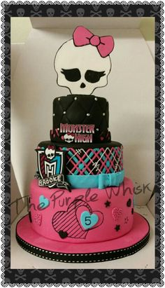 3 tier Monster High Cake. Vanilla, Chocolate and marble cake tiers. Www.thepurplewhisk.co.uk
