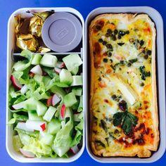 Monbento   tarte bento: spring veggie tarte, salad with