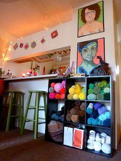 What a pretty way to use yarn as decor...Yarn-pocalypse by Porkwa, via Flickr