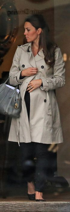 Kate Middleton in her final weeks of pregnancy wearing a zara mac, Tod's handbag and shoes by French Sole