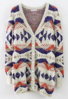 Fluffy Aztec Cardigan