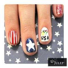 USA Olympic Nails! London 2012! Would make cute 4th of July nails w/o the Olympic rings