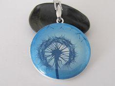 Dandelion in blue sky  Silver plated Locket by amajewelry on Etsy, $25.00