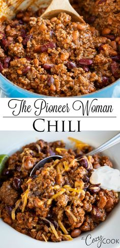This hearty chili recipe from The Pioneer Woman has a perfect blend of seasonings, ground beef, and beans. It's Stove Top, Crock Pot, and Instant Pot friendly! with ground beef dinner The Pioneer Woman Chili The Pioneer Woman, Pioneer Woman Chili, Pioneer Girl, Pioneer Woman Recipes, Hearty Chili Recipe, Best Chili Recipe, Chili Recipes, Instant Pot Chili Recipe With Beans, Diced Beef Recipes