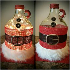 Santa Christmas Bottle with Lights LIGHTS NOW by tinamarietwo