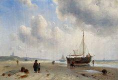 Charles Henri Joseph Leickert (1816-1907) Bomschuit en vissers op het strand van Scheveningen. (Coll. Simonis&Buunk, Ede)