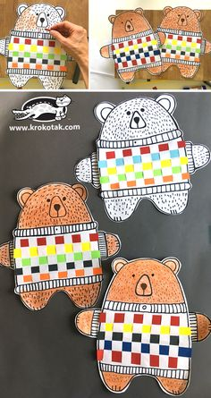 children activities, more than 2000 coloring pages Bear Crafts Preschool, Toddler Crafts, Crafts For Kids, Arts And Crafts, Paper Crafts, Art Therapy Activities, Activities For Kids, Weaving For Kids, Winter Art Projects
