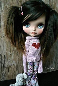 Suedolls  | Cute Blythe doll in pajamas | Brown hair pigtails | Blue eyes, teddy bear | sleeping outfit | Cute heart sweater