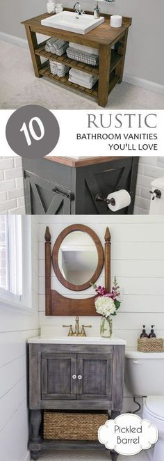 Rustic bathroom vanity and mirrors planning our new home for Mueble vanitorio easy