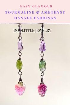Tourmaline Jewelry, Amethyst Jewelry, Tourmaline Gemstone, Amethyst Gemstone, Gemstone Jewelry, Green Tourmaline, Dainty Earrings, Earrings Handmade, Dangle Earrings