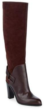 Tall Heeled Suede & Leather Boots