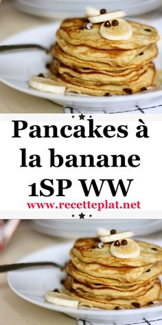 WW Banana Pancakes - Recipe Pancakes with banana WW, a delight for your snack or breakfast, a Weight Watchers recipe - Plats Weight Watchers, Weight Watchers Breakfast, Weight Watchers Meals, Banana Recipes Dinner, Vegan Breakfast Recipes, Ww Recipes, Healthy Dessert Recipes, Overnight Oats, Banana Dessert