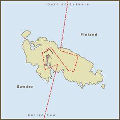 A Map of the strange border between Sweden  Finland on Märket Island.