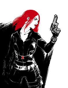MCU!Black Widow with TWS fanart by beanclam
