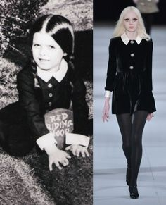 Halloween costume inspiration from the catwalk - Wednesday Addams from Saint Laurent