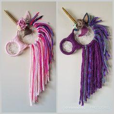 Diy idea for Unicorn dream catchers. Crafts To Do, Yarn Crafts, Crafts For Kids, Arts And Crafts, Dreamcatchers, Crochet Projects, Craft Projects, Weaving Projects, Dream Catcher Craft