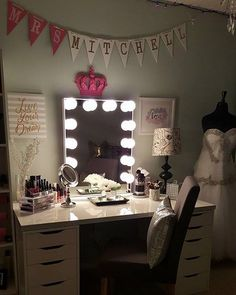 How dreamy! ✨ This beautiful vanity station is definitely fit for a bride! MrsThersa Hopkins-Mitchell's #vanityinspo features our #ImpressionVanityGlowXL and IKEA's Alex drawers and Linnmon table top.