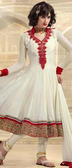#Cream Net #Churidar #Kameez @ $137.84 | Shop Here: http://www.utsavfashion.com/store/sarees-large.aspx?icode=kds103a