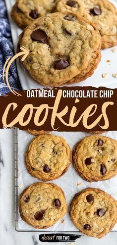 One of the best desserts for two! This small batch cookie recipe yields a dozen. Soft and chewy, these oatmeal cookies with chocolate chips are perfection. Enjoy these easy-to-make sweet treats today!