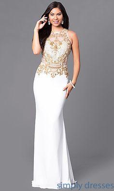 Beaded Bodice Floor-Length Formal Prom Dress