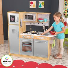 KidKraft Uptown Natural Play Kitchen - With sleek modern styling, the KidKraft Uptown Natural Play Kitchen is ready to serve up some fun. Your aspiring chef will have everything they need w...