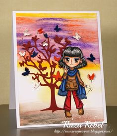 art by miran Craft Corner, Color Card, Hand Coloring, Envy, Stamps, Paper Crafts, Crafty, Cute, Projects