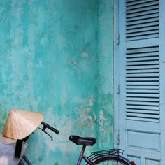 Turquoise Wall and Vietnamese Hat in Bike Basket in Historic Hoi An, Vietnam, Asia, Architecture Wall Art Square Photograph Print, 6x6, 8x8
