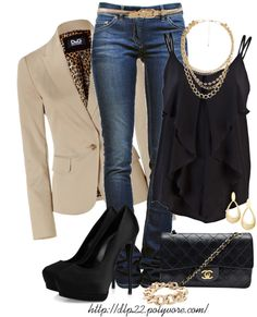 """""""Black & Beige"""" by dlp22 on Polyvore great date outfit"""