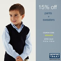 Save 15% off #pants & #sweaters when you use this code! Offer valid through 9/18. Get your #savings on!