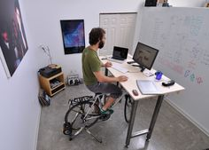 The desk designed for cyclists. Exercise while working