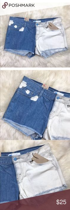 "Levis Bleached Two Tone Blue White Denim Shorts New with tags. Size 15 (Juniors) or 32, according to Levi's size chart but please use measurements provided below for accurate sizing. Bleached two tone look. 100% cotton. Measurements are 10.5"" in length, 8.5"" front rise, 3"" inseam, & 18"" across waist. 5 pockets. Front center zipper. Bottom frayed hem. Color blue half shorts & white other half. Some white bleaching on back of blue. ❌NO TRADES OR PAYPAL❌ Levi's Shorts Jean Shorts"