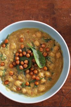 Curried Gem squash Soup & toasted chickpea 'croutons' is a warming vegetarian winter recipe.