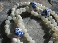 Mother of Pearl Mala Prayer Beads Rosary - white. $18.99, via Etsy.