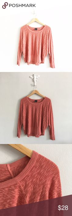 "Anthropologie Left of Center Coral Waffle Thermal Gently pre-loved with  no rips or stains. Very minimal wear. Please see all pictures for an accurate description of condition. Please note that there is no fabric content tag. Chest: 62"". Length: 23"". *0527170280* Anthropologie Tops Tees - Long Sleeve"