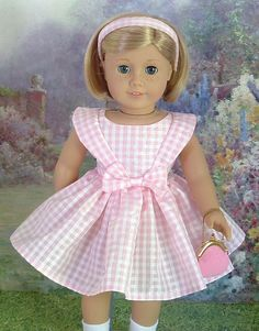 Pink Gingham Taffeta Dress for Kit Ruthie by MyGirlClothingCoHeir, $48.00