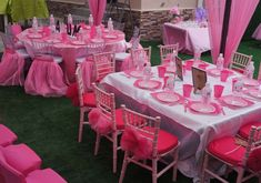 Every little girls dream party! Check out the awesome pink table settings at this 1st Royal Castle birthday party! See more party ideas and share yours at CatchMyParty.com