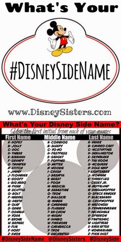 Disney names - What's Your Disney Side Name We've got the easy way to magically transform your name into your DISNEY SIDE name! Great activity for Disney Side Parties or any Disney related Party! (Free Print Out on Dreamworks, Funny Name Generator, Jessy James, Fantasy Names, Name Games, Funny Names, Fun Quizzes, What Is Your Name, Disney Quotes
