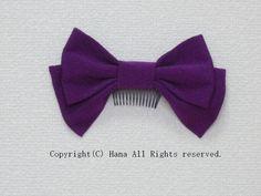 リボン髪飾りショート 紫  #髪飾り #リボン #はいからさん #袴 #卒業式 #卒園式 #紫 #シンプル #コーム