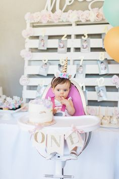 Molly the Unicorn! Ali Fedotowsky-Manno's Baby Girl Turns 1 with a DIY Fantasy Bash Fit for a Mythical Princess Unicorn Themed Birthday Party, Unicorn Party, Birthday Bash, First Birthday Parties, Birthday Party Themes, Birthday Ideas, Birthday Celebrations, First Birthday Pictures, Baby Girl First Birthday
