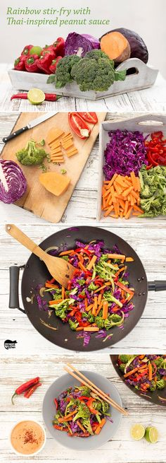 Rainbow stir-fry with peanut sauce