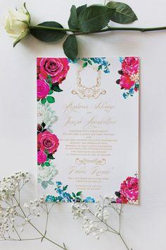 Vintage Wedding Invitation Boho Chic Invite Rose by PaperMyArt
